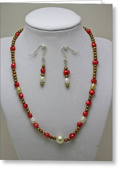 Gold Necklace Greeting Cards - 3539 Pearl Necklace and Earring Set Greeting Card by Teresa Mucha