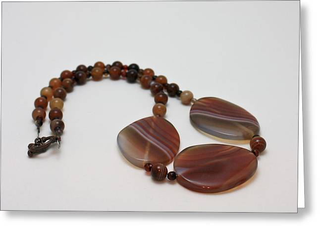 Design Jewelry Greeting Cards - 3543 Coffee Vein Agate Necklace Greeting Card by Teresa Mucha