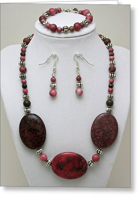 Handmade Jewelry Greeting Cards - 3544 Rhodonite Necklace Bracelet and Earring Set Greeting Card by Teresa Mucha