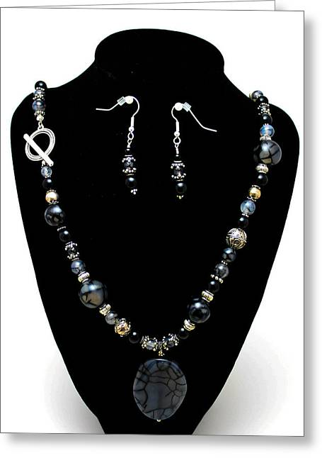 Design Jewelry Greeting Cards - 3545 Black Cracked Agate Necklace and Earring Set Greeting Card by Teresa Mucha