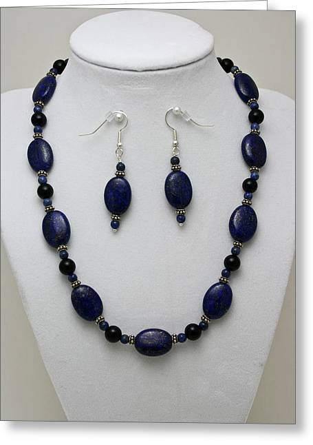 Gold Necklace Greeting Cards - 3555 Lapis Lazuli Necklace and Earring Set Greeting Card by Teresa Mucha