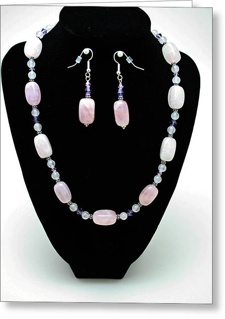 Design Jewelry Greeting Cards - 3560 Rose Quartz Necklace and Earrings Set Greeting Card by Teresa Mucha