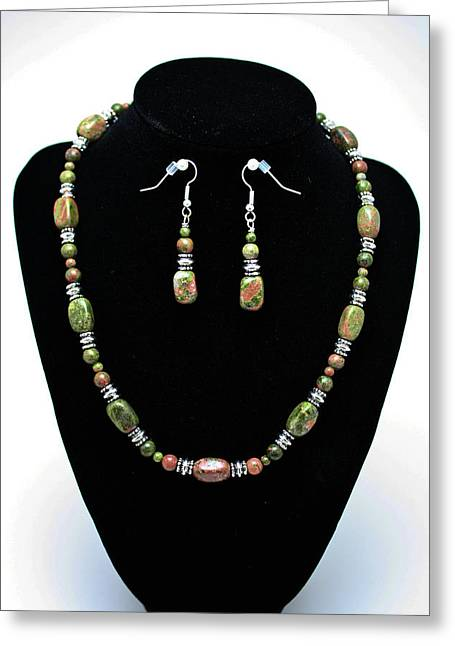 Handmade Jewelry Greeting Cards - 3565 Unakite Necklace and Earrings Set Greeting Card by Teresa Mucha
