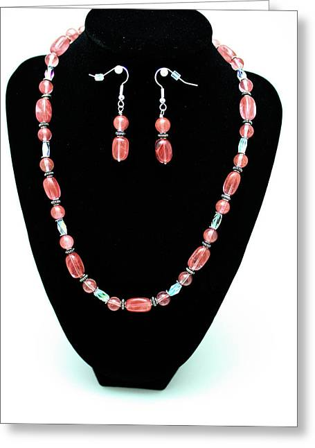 Design Jewelry Greeting Cards - 3570 Cherry Quartz Czech Glass Set Greeting Card by Teresa Mucha