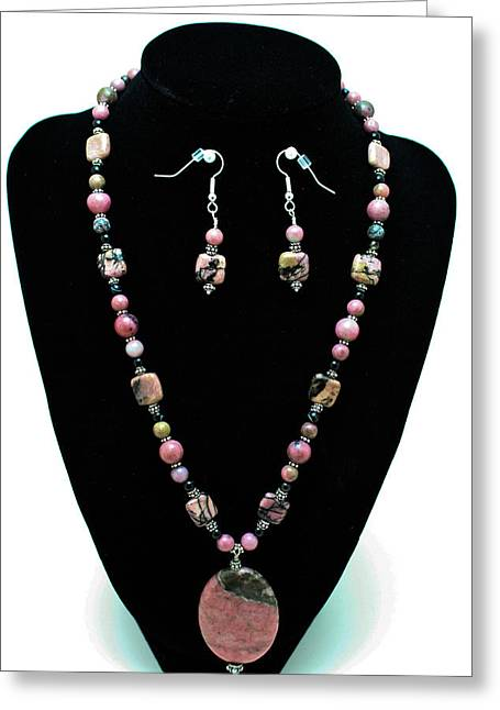 Design Jewelry Greeting Cards - 3571 Rhodonite Set Greeting Card by Teresa Mucha