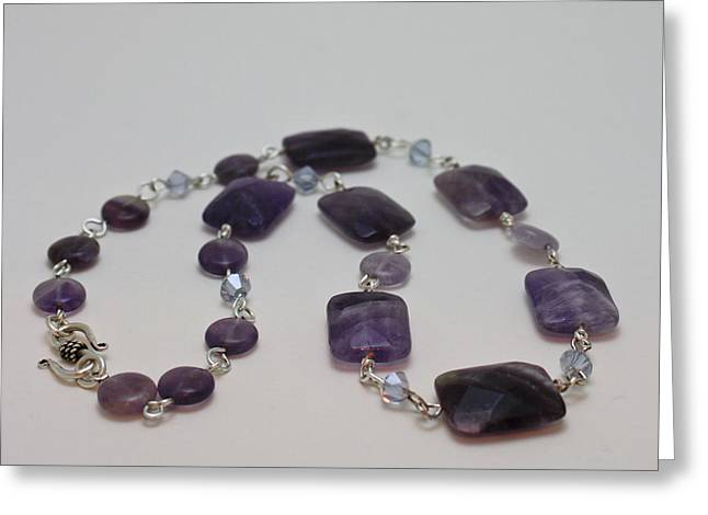 Design Jewelry Greeting Cards - 3575 Amethyst Necklace Greeting Card by Teresa Mucha