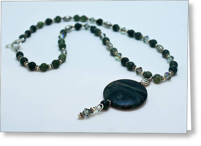 Design Jewelry Greeting Cards - 3577 Kambaba and Green Lace Jasper Necklace Greeting Card by Teresa Mucha