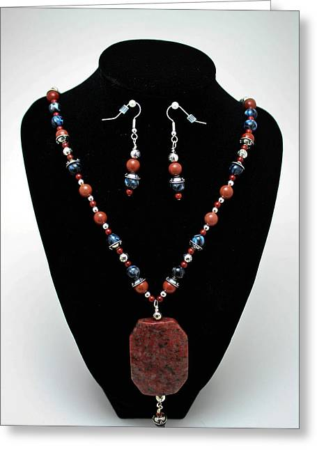 Long Necklace Jewelry Greeting Cards - 3578 Jasper and Agate Long Necklace and Earrings Set Greeting Card by Teresa Mucha