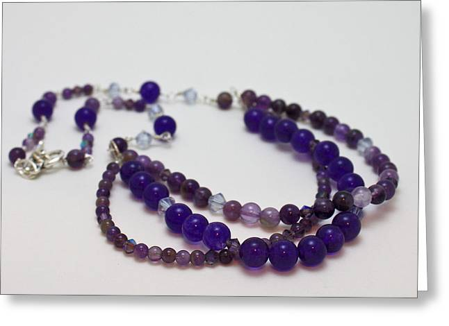 Design Jewelry Greeting Cards - 3580 Amethyst and Adventurine Necklace Greeting Card by Teresa Mucha