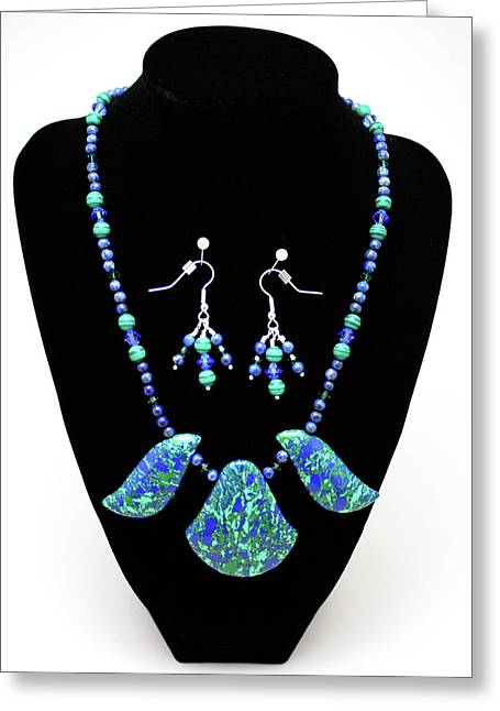 Design Jewelry Greeting Cards - 3582 Lapis Lazuli Malachite Necklace and Earring Set Greeting Card by Teresa Mucha