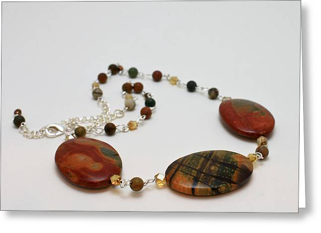 Handmade Jewelry Greeting Cards - 3586 Picasso Jasper Necklace Greeting Card by Teresa Mucha