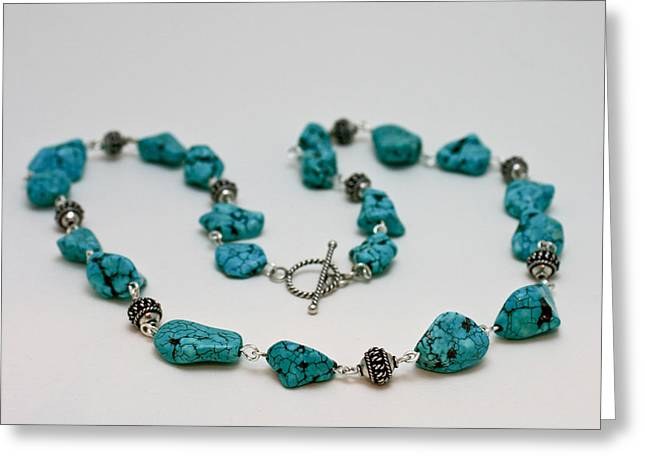 Sterling Silver Jewelry Greeting Cards - 3599 Turquoise Necklace Greeting Card by Teresa Mucha