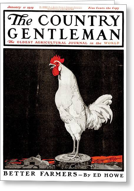 Cock-a-doodle-doo Greeting Cards - Cover Of Country Gentleman Agricultural Greeting Card by Remsberg Inc