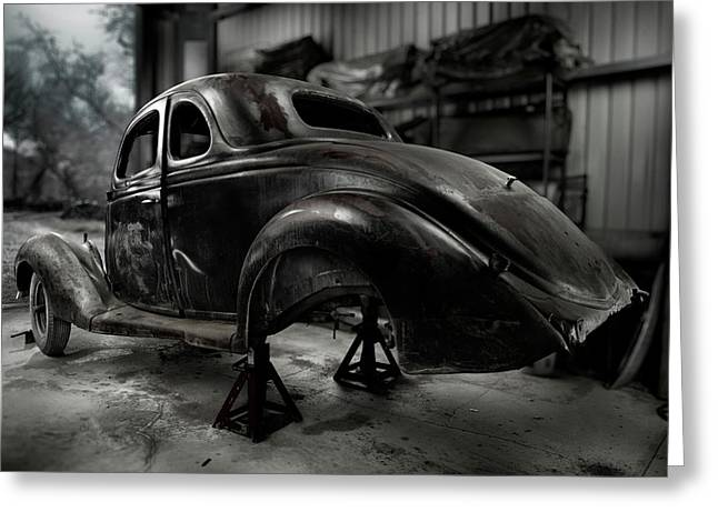 Rusted Cars Photographs Greeting Cards - 36 Ford Coupe Rear Greeting Card by Yo Pedro