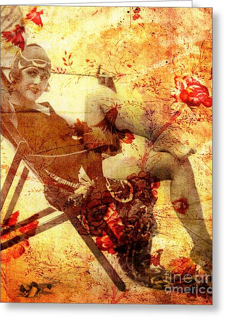 Beach Photography Mixed Media Greeting Cards - Winsome Woman Greeting Card by Chris Andruskiewicz