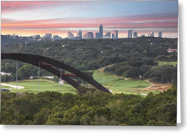 360 Bridge And Downtown Austin 2 Greeting Card by Rob Greebon