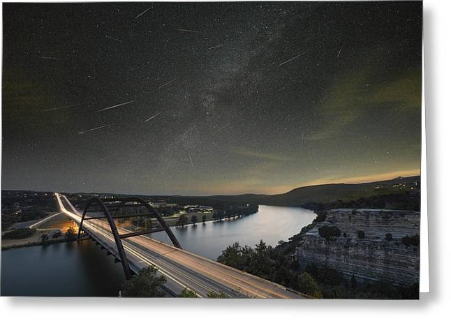 Perseid Meteor Greeting Cards - 360 Bridge and the Perseid Meteor Shower Greeting Card by Rob Greebon
