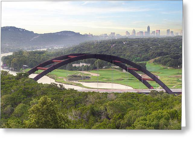 Austin Landmarks Greeting Cards - 360 Bridge near Austin Texas Morning Panorama 1 Greeting Card by Rob Greebon