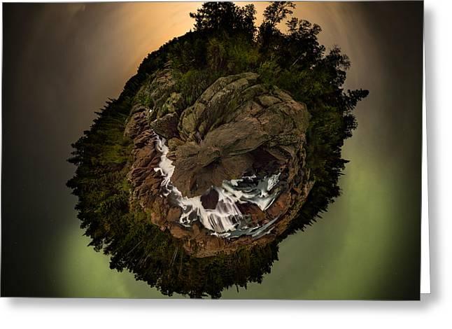 Geology Photographs Greeting Cards - 360 Polar Pano Cascades Night Greeting Card by Jakub Sisak
