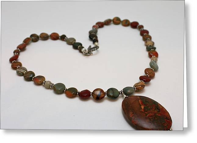 Handmade Jewelry Jewelry Greeting Cards - 3600 Picasso Jasper Necklace Greeting Card by Teresa Mucha