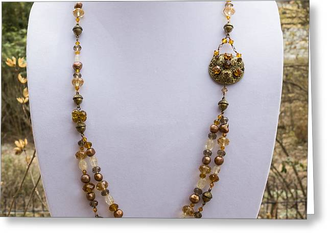 3615 Long Pearl Crystal And Citrine Necklace Featuring Vintage Brass Brooch  Greeting Card by Teresa Mucha