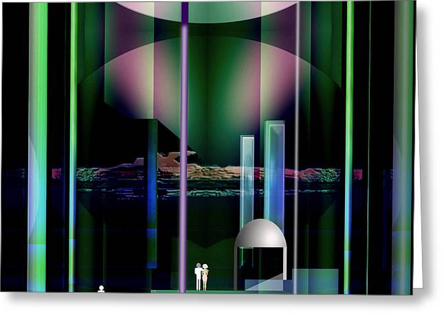 Monolith Greeting Cards - 365 - Eerie  nightscene .... Greeting Card by Irmgard Schoendorf Welch