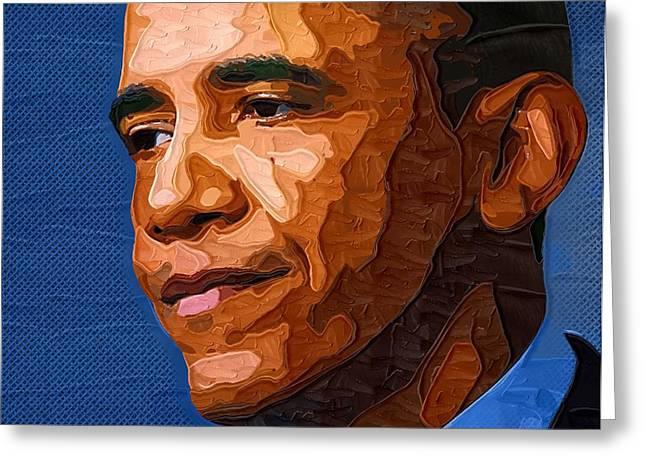Art Of Barack Obama Greeting Cards - Barack Obama Portrait Greeting Card by Victor Gladkiy