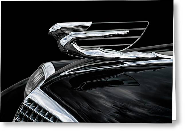 Auto Greeting Cards - 37 Cadillac Hood Angel Greeting Card by Douglas Pittman
