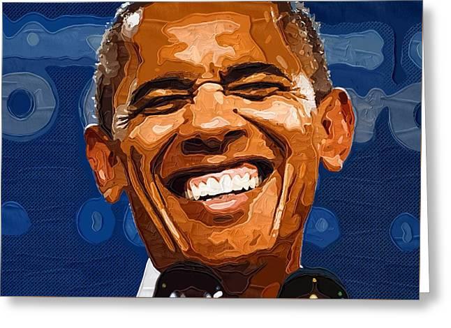 Portrait Barack Obama Greeting Cards - Barack Obama Portrait Greeting Card by Victor Gladkiy