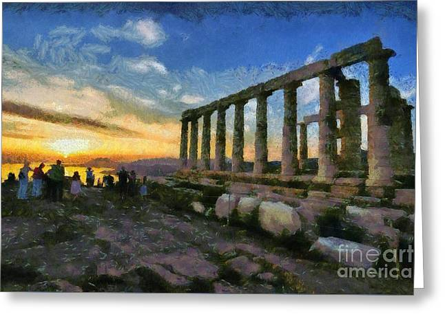 Temple Of Poseidon During Sunset Greeting Card by George Atsametakis