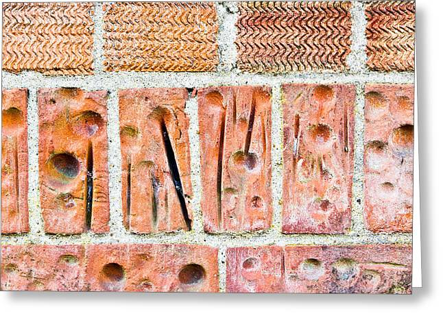 Bullet Holes Greeting Cards - Brick wall Greeting Card by Tom Gowanlock