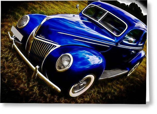 Motography Photographs Greeting Cards - 39 Ford V8 Coupe Greeting Card by Phil