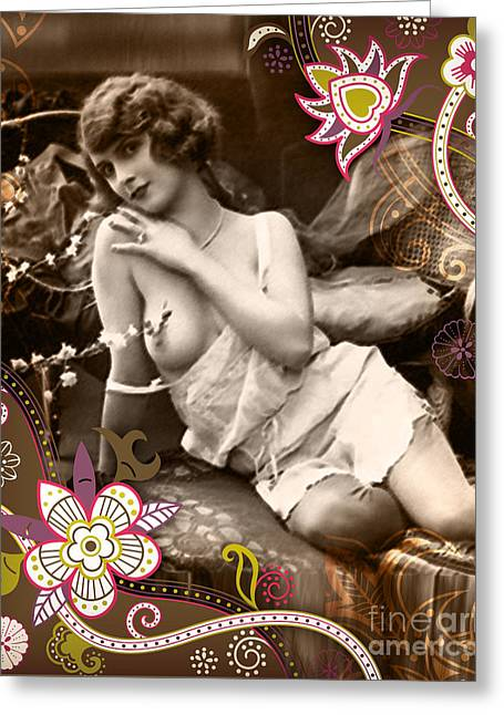 Nostalgic Mixed Media Greeting Cards - Goddess Greeting Card by Chris Andruskiewicz