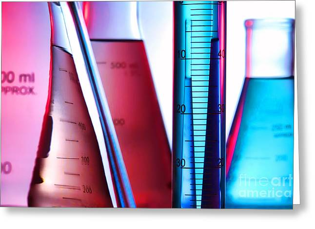 Experiment Greeting Cards - Laboratory Equipment in Science Research Lab Greeting Card by Olivier Le Queinec