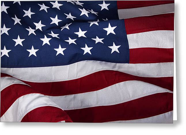 Star Greeting Cards - USA flag Greeting Card by Les Cunliffe