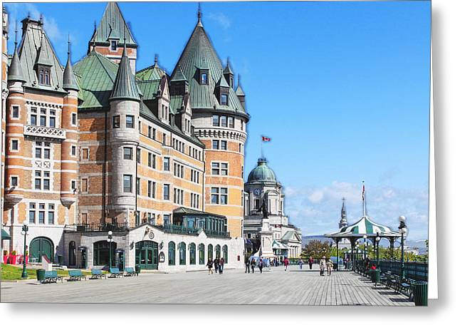 Chateau Greeting Cards - 3D Fairmont Le Chateau Frontenac Greeting Card by Carlos Diaz