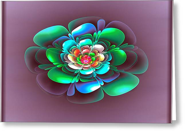 Floral Digital Art Greeting Cards - 3D Flower Tile Greeting Card by Pam Amos