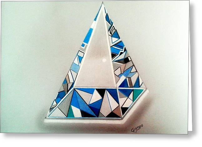 Pyramids Glass Greeting Cards - 3D glass pyramid Greeting Card by Giorgio Valencia