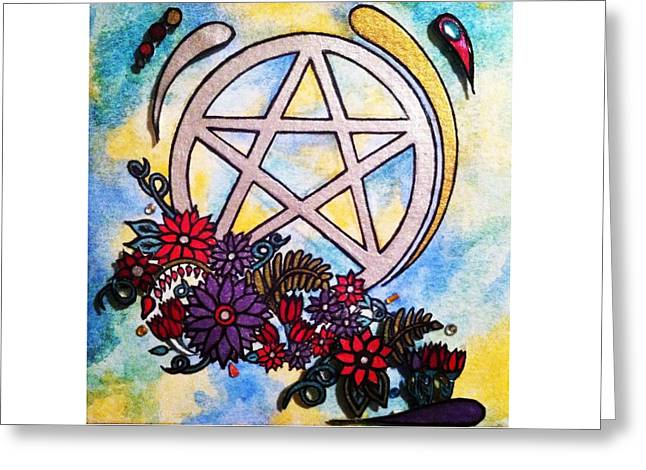 3d Pentacle Image Greeting Card by Kristina Rinier