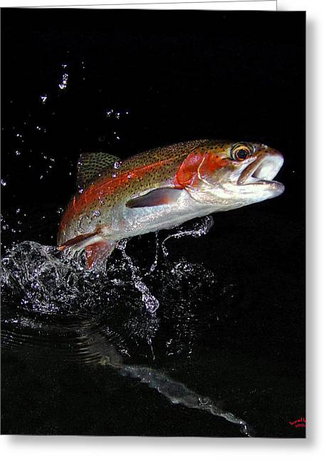 Rainbow Trout Greeting Cards - 3D Rainbow Greeting Card by Brian Pelkey