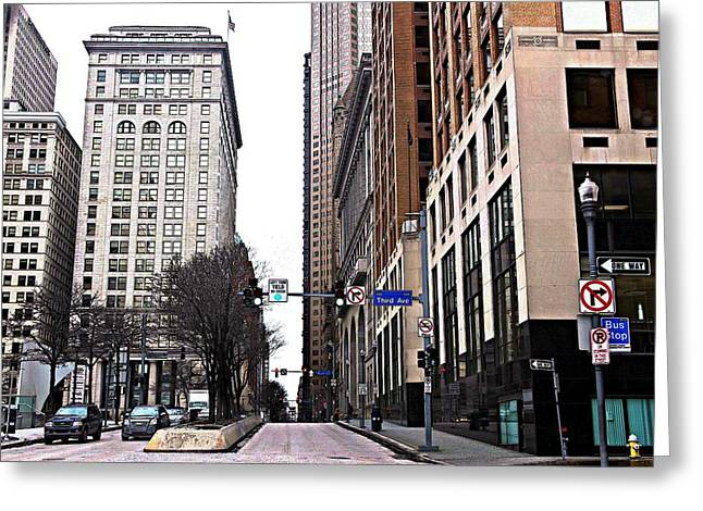 Pnc Park Digital Art Greeting Cards - 3rd Avenue Greeting Card by Melinda Dominico