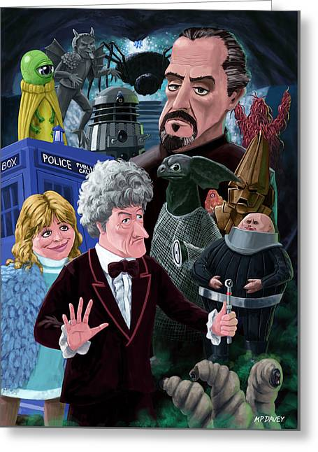 3rd Dr Who And Friends Greeting Card by Martin Davey
