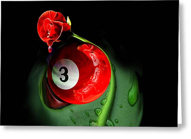 9ball Greeting Cards - 3rd Rose Greeting Card by Draw Shots