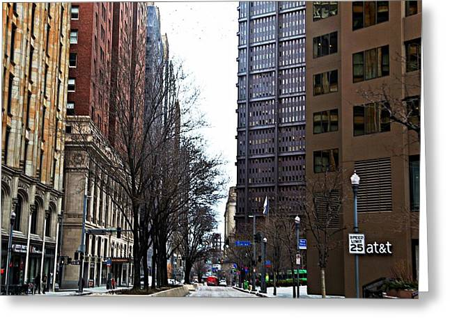 Pnc Park Digital Art Greeting Cards - Grant Street Greeting Card by Melinda Dominico