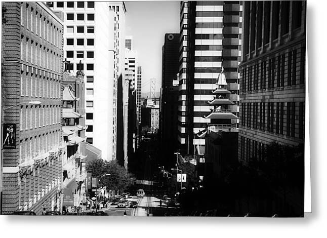 Downtown San Francisco Greeting Cards - A Day in the Life of San Francisco Greeting Card by Sebastien Gabriel