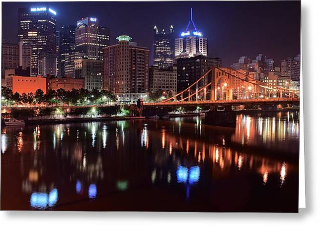 Waterways Greeting Cards - A Pittsburgh Night Greeting Card by Frozen in Time Fine Art Photography