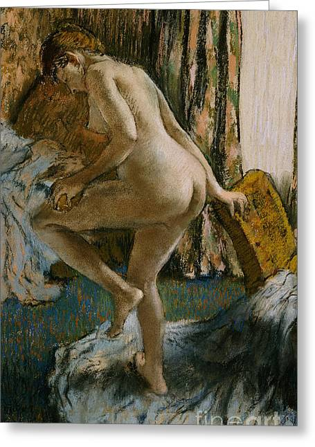 Figures Pastels Greeting Cards - After the Bath Greeting Card by Edgar Degas