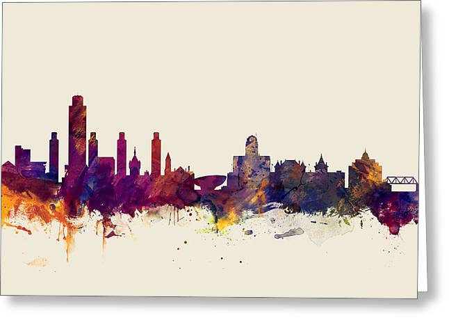 Albany Greeting Cards - Albany New York Skyline Greeting Card by Michael Tompsett