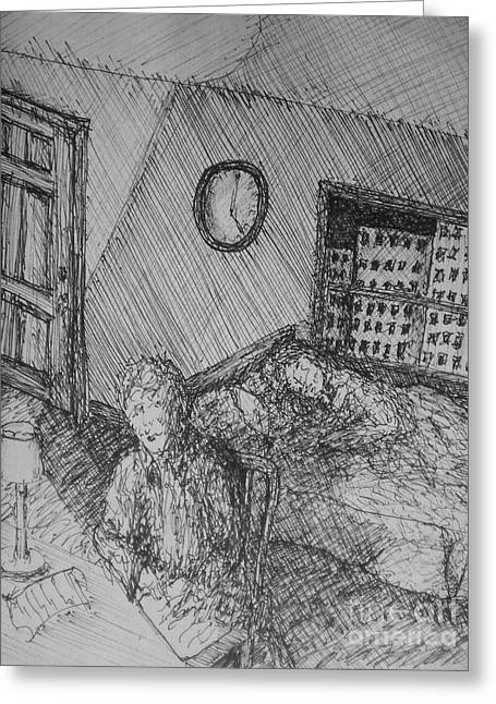 Music Time Drawings Greeting Cards - 4 Am Greeting Card by William Dietrich