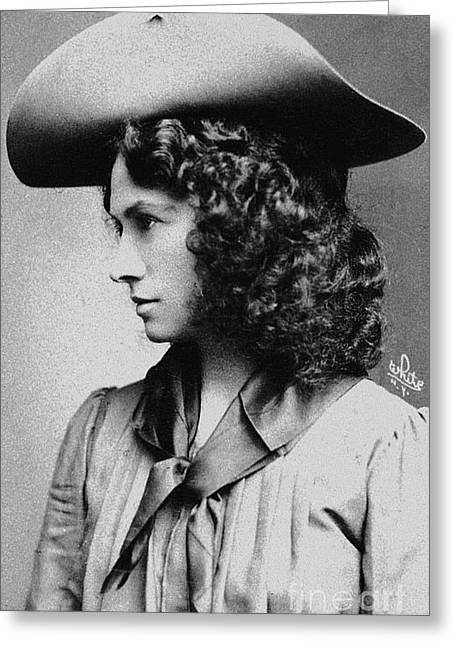 The Markswoman Greeting Cards - Annie Oakley (1860-1926) Greeting Card by Granger